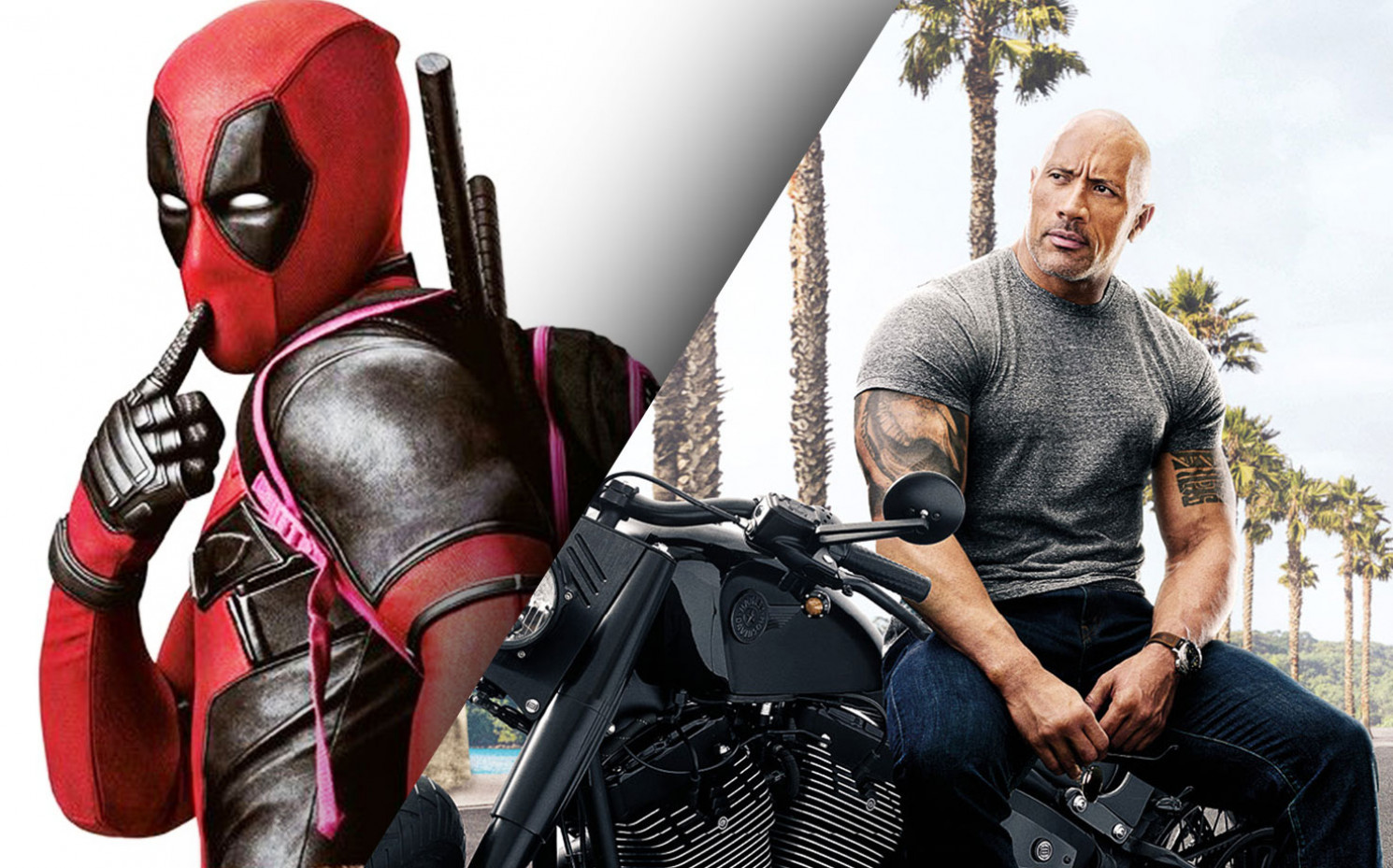 Die beste Love-Story, die Hollywood je gesehen hat? Deadpool umgarnt Dwayne Johnson. | © 20th Century Fox / Universal Pictures