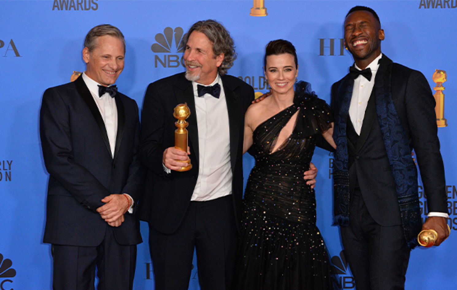 Viggo Mortensen, Peter Farrelly, Linda Cardellini und Mahershala Ali bei den Golden Globes | © Featureflash Photo Agency / Shutterstock
