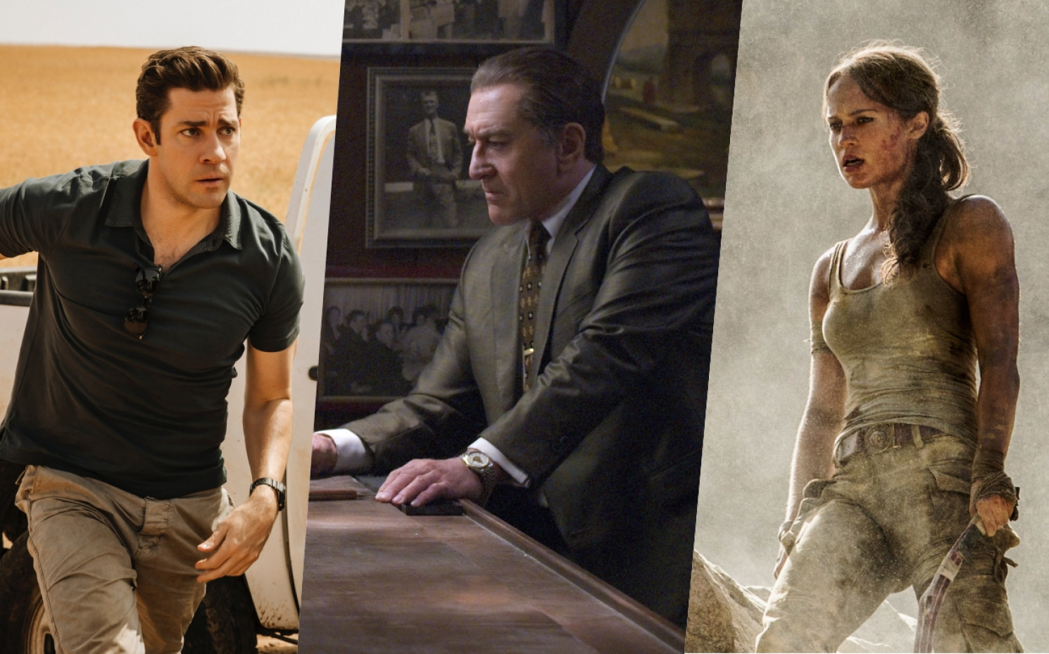 Knackige Highlights im November - mit Jack Ryan, Robert De Niro und Tomb Raider | © Amazon Prime / Netflix / Warner Bros.